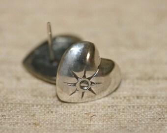 Free Shipping Stud Earrings, Silver Heart Earrings, Stud Earrings, Silver Jewelry, Handmade Silver Heart Earrings, Silver Heart,