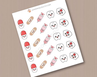 Medical care stickers, 25 x matte or glossy planner stickers, life planner stickers, erin condren filofax, mambi happy planner