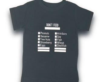 Kids Allergy awareness Shirt / food allergy shirt / allergies shirt / medical alert shirt / allergies shirt / Don't Feed allergy shirt