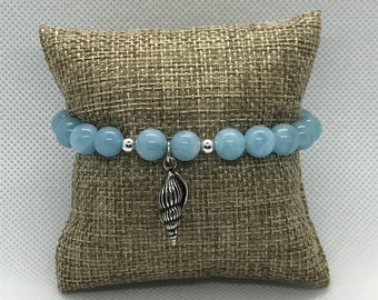 Aquamarine Bracelet with Shell charm, Stackable