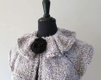 Light Gray Color Knitted Capelet Ruffled Collar Cowl with Knitted Black Brooch
