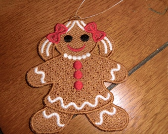 Embroidered Ornament - Christmas - Gingerbread Girl - Small