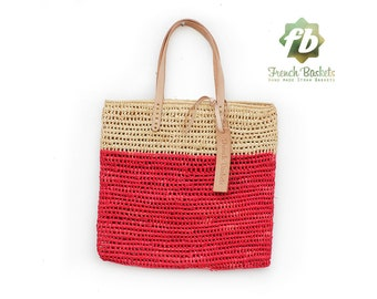Medium Tote bag made of raffia straw Natural and red