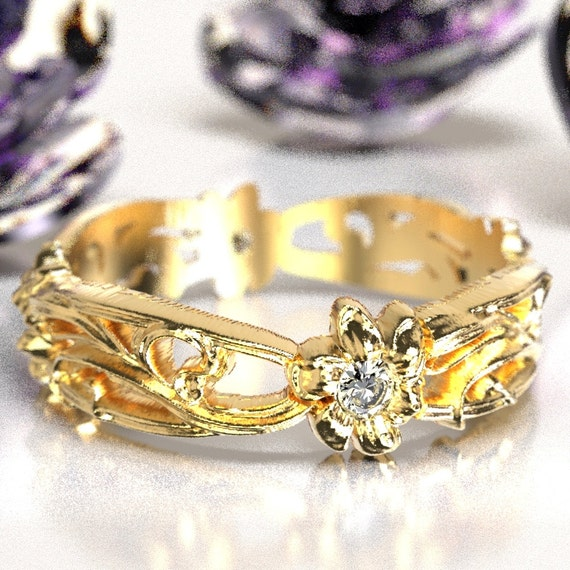 Art Nouveau Floral Design Wedding Ring Gold with Moissanite  Design in 10K 14K 18K or Palladium, Made in Your Size Cr-5018