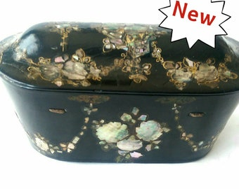 Antique Victorian Papier Mache Box with Mother of Pearl by Jennens and Bettridge a/f