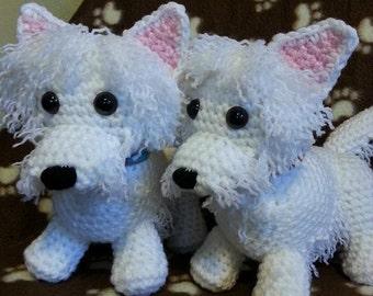 Crochet pattern terrier amigurumi, westie, yorkie, scottie, crochet scottie dog pattern, puppy dog pattern, west highland white terrier dog