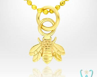 14K Tiny Bee Pendant or Necklace