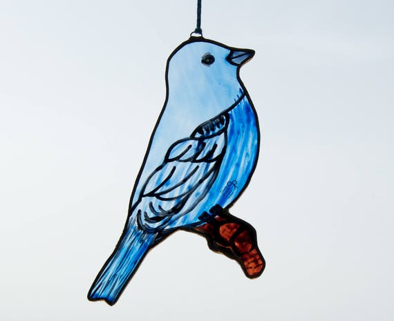 Bird - Tiffany Stained Glass - Blue finch - Window panel - Suncatcher - Wall hanging - Hanging panel - Home decor - Ready To Ship
