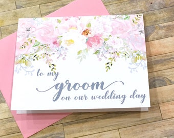 to my groom on our wedding day - wedding day card for man of my dreams - card from bride - wife - husband - blush wedding keepsake