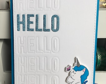 Hello Friend Greeting Card with Unicorn