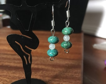 Green and Clear Bead Earrings