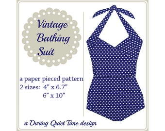 Vintage Bathing Suit Paper Pieced Pattern