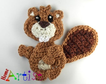 Crochet Applique Beaver