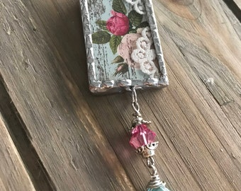 Silver Soldered Glass Collage Pendant - Soldered Necklace - Country Charm