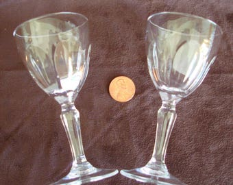 Vintage Crystal Cordial or Liqueur Glasses, Set of 2 Crystal Cordial Glasses, Vintage Barware