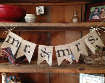 Mr. and Mrs. Burlap Bunting, Mr. and Mrs. Banner, Wedding Decor, Photo Prop, Wedding Bunting