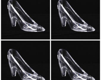 Four(4) Cinderella Glass Slipper 6.75 inch Large Acrylic Slipper, Cake Topper, Party Favor