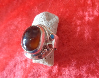 Turquoise amber and red coral ring