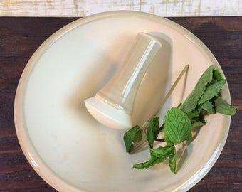 Mortar and Pestle grinder ceramic - handmade - tan pills vitamins herbs spices cooking one of a kind unique utilitarian christmas gifts