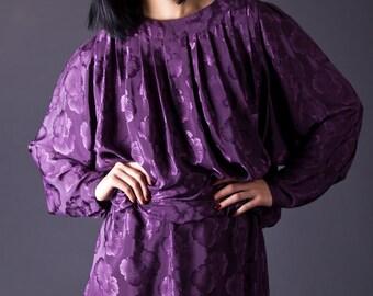 SALE 50% OFF 80s Vintage Blouson Mini Dress in Smoky Plum