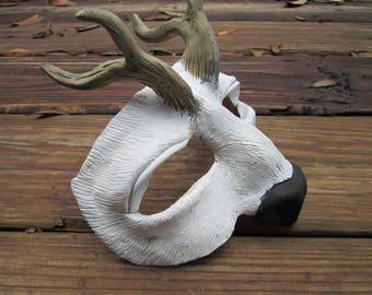 White Stag, costume Mask, white deer costume, masquerade, antler mask, ren faire, LARP, fantasy costume, half face, mythological creature,