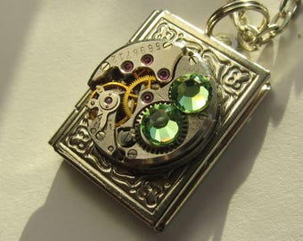 Steampunk Jewelry  Book Locket Necklace vintage watch movement Green Swarovski crystals Reader gift for women friend Gift for Her OOAK