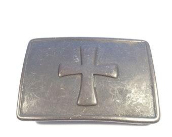 On Sale Vintage Cross Brass Belt Buckle Maltese Cross 1960's Gift for her, gift for him