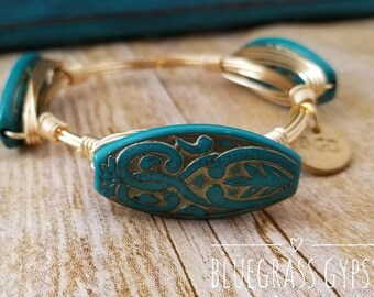 Spring vintage turquoise gold etched beaded wire wrapped bangle, bracelet, Bourbon and boweties inspired