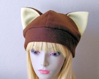 Fleece Cat Hat / CHOCOLATE BROWN Beanie Style Cute Anime Neko Cosplay Cat Ears Kitty Kawaii Japanese Fashion