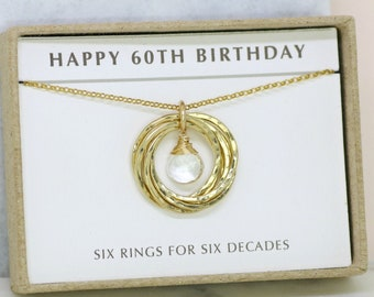 60th birthday gift, April birthstone necklace 60th, rock crystal necklace for 60th birthday, gift for mom, grandma - Lilia