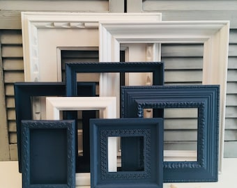 Custom Navy Blue and White Gallery Wall Set; Open Frames Set; Hand-Painted and Distressed Frame Set; Shabby Chic Frames