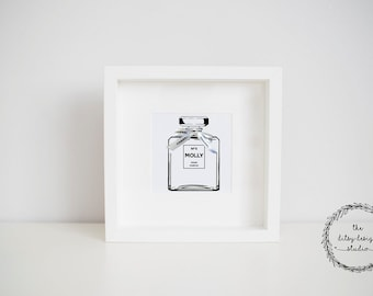 Personalised Chanel Perfume Bottle Box Frame Gift
