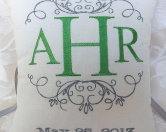 Personalized Monogram Ring Bearer Pillow III (RB107)
