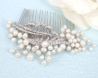 Foliage-Vintage style Freshwater Pearl and Rhinestone Bridal Comb