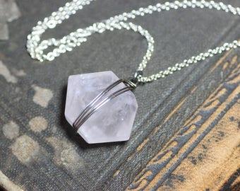 Rose Quartz Necklace Pink Quartz Gemstone Hexagon Modern Geometric Silver Wire Wrapped Pendant Necklace Pink Necklace
