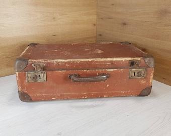 Vintage suitcase, Old suitcase, Cardboard suitcase, Brown suitcase, Travel suitcase, Vintage luggage, Big suitcase, Antique suitcase