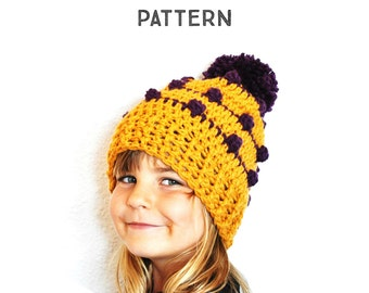 Crochet Pattern Popcorn Slouchy Beanie Hat, Step by Step Phototutorial, baby, toddler, child, adults, women, men, all sizes, pom pom, pompom