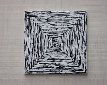 abstract acrylic art original painting black & white geometry square on 12x12 canvas