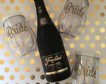 Bride Wine Tumbler, Stemless Wine Tumbler, Personalize with Monogram/Name, Bride Gift, Bachelorette Gift