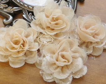 NEW: 4 pieces SMALL Shabby Chic Frayed Chiffon Mesh and Lace Rose Ruffled Fabric Flower - Nude Tan