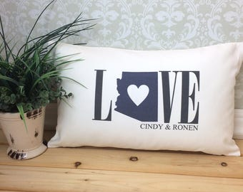 Arizona Love Pillow Love Pillow Wedding Pillow Anniversary Pillow Personalized Pillow Arizona State Pillow Arizona State Home Decor