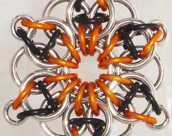 Large Celtic Star Chainmaille Pendant Orange Black Silver