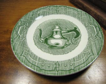 Vintage Saucer - The Old Curiosity Shop - Coffee Pot - Green and White