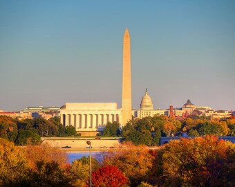 Monumental Autumn - Washington DC Photography - Fall Foliage, Autumn Colors - DC Art - Lincoln Memorial, Washington Monument, US Capitol