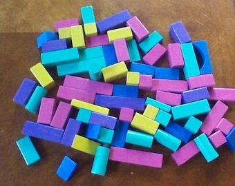 Vintage Wood Blocks, Lot of 72 Building Blocks, Bright 1980s Blocks, Kindergarten Wood Blocks, Daycare Blocks, Elementary School Blocks