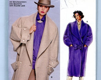 Vintage 80s Burda 6428  Womens Baggy Long Box Coat with Oversized Lapels Cuffs UNCUT Sewing Pattern Sizes 8 to 20 Bust 34 36 38 40 42 44 46