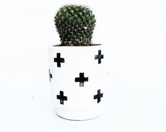 Plus Sign Black Cross Handmade Modern Ceramic Planter