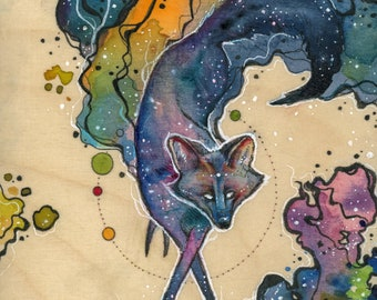 Sky Fox painting // pigment print, archival, 11x14 // Print of watercolor painting of starry fox // maned wolf // wolf // astronomy // stars