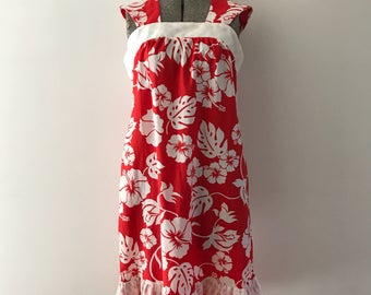 Vintage Hawaiian Dress / 70s Summer Dress / 70s  Hawaiian Dress / 70s Red and White Beach Dress/ 70s Beach Cover Up Dress