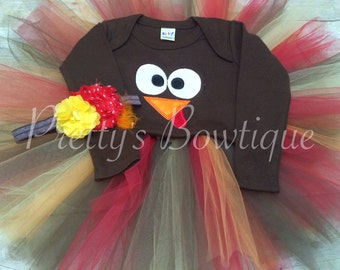 Girls thanksgiving outfit Turkey set turkey shirt or bodysuit, tutu and headband